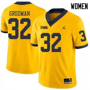 Michigan Wolverines #32 Louis Grodman Women's Yellow College Football Jersey 861767-921