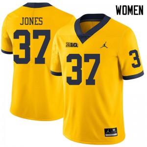 Michigan Wolverines #37 Bradford Jones Women's Yellow College Football Jersey 492173-956