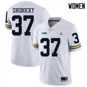 Michigan Wolverines #37 Dane Drobocky Women's White College Football Jersey 834552-767