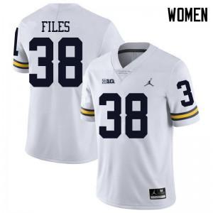 Michigan Wolverines #38 Joseph Files Women's White College Football Jersey 990441-205