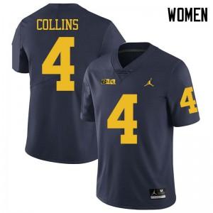 Michigan Wolverines #4 Nico Collins Women's Navy College Football Jersey 983641-698