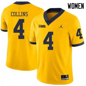 Michigan Wolverines #4 Nico Collins Women's Yellow College Football Jersey 205039-149