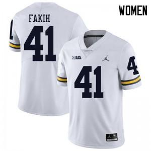 Michigan Wolverines #41 Adam Fakih Women's White College Football Jersey 637077-830