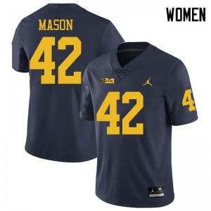 Michigan Wolverines #42 Ben Mason Women's Navy College Football Jersey 328795-111
