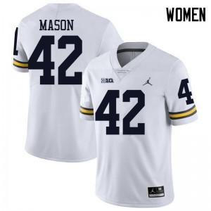 Michigan Wolverines #42 Ben Mason Women's White College Football Jersey 286733-182