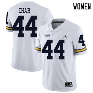 Michigan Wolverines #44 Jared Char Women's White College Football Jersey 699508-128