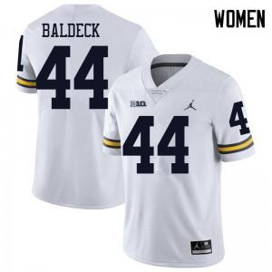 Michigan Wolverines #44 Matt Baldeck Women's White College Football Jersey 698946-613