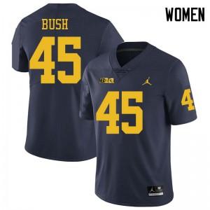 Michigan Wolverines #45 Peter Bush Women's Navy College Football Jersey 343707-459