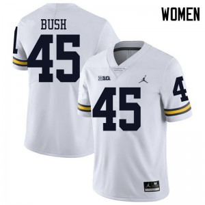 Michigan Wolverines #45 Peter Bush Women's White College Football Jersey 869770-184