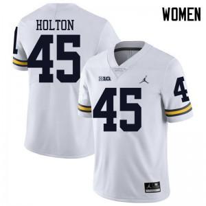 Michigan Wolverines #45 William Holton Women's White College Football Jersey 247673-801