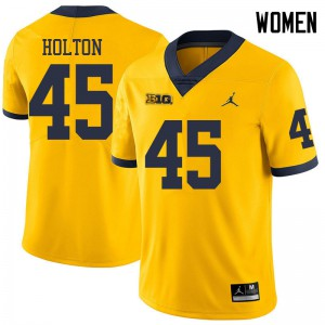 Michigan Wolverines #45 William Holton Women's Yellow College Football Jersey 850041-247