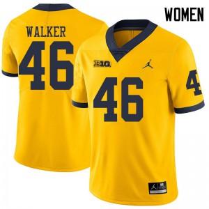 Michigan Wolverines #46 Kareem Walker Women's Yellow College Football Jersey 899575-161