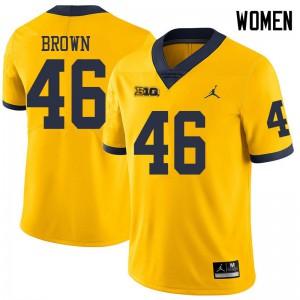 Michigan Wolverines #46 Matt Brown Women's Yellow College Football Jersey 146743-388