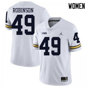 Michigan Wolverines #49 Andrew Robinson Women's White College Football Jersey 691582-899