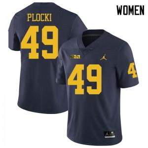 Michigan Wolverines #49 Tyler Plocki Women's Navy College Football Jersey 724141-825