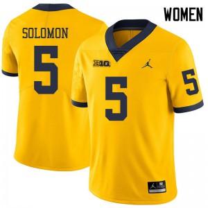 Michigan Wolverines #5 Aubrey Solomon Women's Yellow College Football Jersey 769129-583