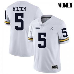 Michigan Wolverines #5 Joe Milton Women's White College Football Jersey 841405-572