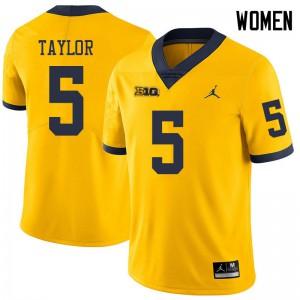 Michigan Wolverines #5 Kurt Taylor Women's Yellow College Football Jersey 983645-543