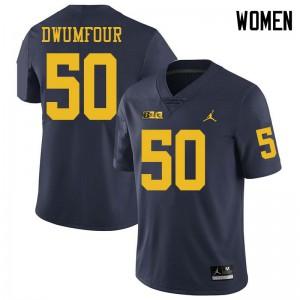 Michigan Wolverines #50 Michael Dwumfour Women's Navy College Football Jersey 549217-383