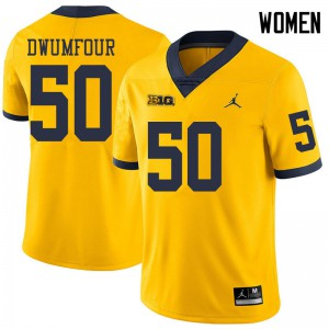Michigan Wolverines #50 Michael Dwumfour Women's Yellow College Football Jersey 688260-830