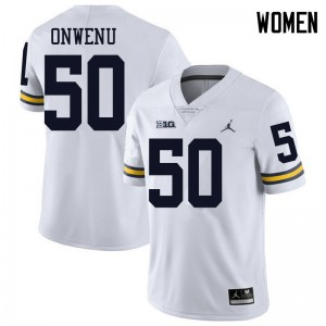 Michigan Wolverines #50 Michael Onwenu Women's White College Football Jersey 929582-350