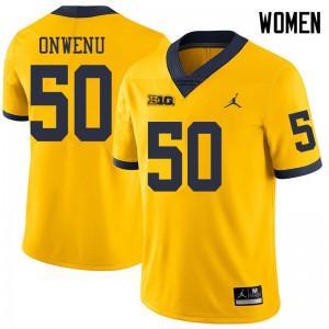 Michigan Wolverines #50 Michael Onwenu Women's Yellow College Football Jersey 490512-771