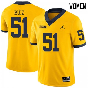 Michigan Wolverines #51 Cesar Ruiz Women's Yellow College Football Jersey 410491-797