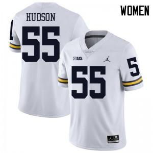 Michigan Wolverines #55 James Hudson Women's White College Football Jersey 686112-636
