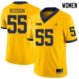 Michigan Wolverines #55 James Hudson Women's Yellow College Football Jersey 765042-566