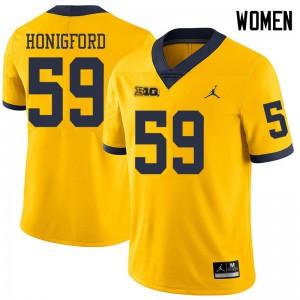 Michigan Wolverines #59 Joel Honigford Women's Yellow College Football Jersey 896968-558