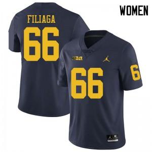Michigan Wolverines #66 Chuck Filiaga Women's Navy College Football Jersey 450804-491