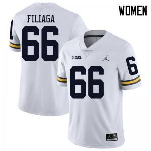 Michigan Wolverines #66 Chuck Filiaga Women's White College Football Jersey 723642-450