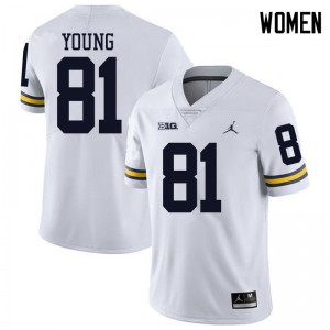 Michigan Wolverines #81 Jack Young Women's White College Football Jersey 229328-515
