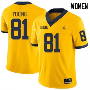Michigan Wolverines #81 Jack Young Women's Yellow College Football Jersey 318218-481