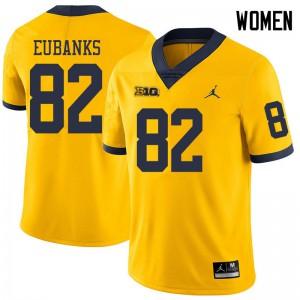 Michigan Wolverines #82 Nick Eubanks Women's Yellow College Football Jersey 621454-727