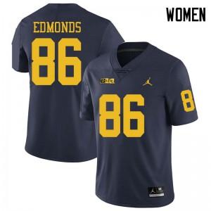 Michigan Wolverines #86 Conner Edmonds Women's Navy College Football Jersey 886839-717