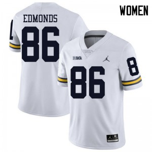 Michigan Wolverines #86 Conner Edmonds Women's White College Football Jersey 764237-111