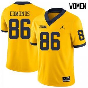 Michigan Wolverines #86 Conner Edmonds Women's Yellow College Football Jersey 428985-506