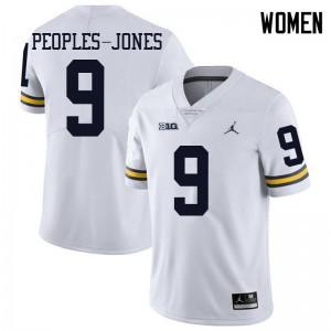 Michigan Wolverines #9 Donovan Peoples-Jones Women's White College Football Jersey 722273-290