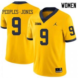 Michigan Wolverines #9 Donovan Peoples-Jones Women's Yellow College Football Jersey 774671-233