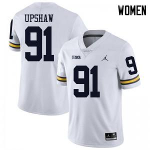 Michigan Wolverines #91 Taylor Upshaw Women's White College Football Jersey 852993-439