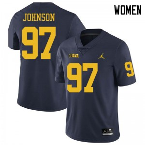Michigan Wolverines #97 Ron Johnson Women's Navy College Football Jersey 622215-287