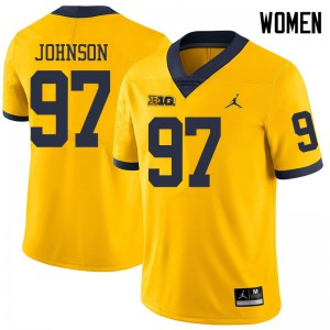 Michigan Wolverines #97 Ron Johnson Women's Yellow College Football Jersey 813193-221