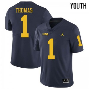 Michigan Wolverines #1 Ambry Thomas Youth Navy College Football Jersey 903177-745