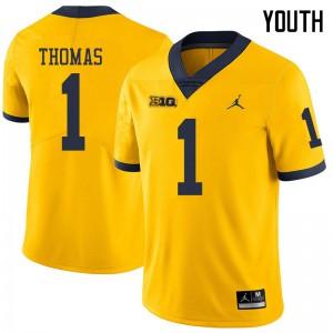 Michigan Wolverines #1 Ambry Thomas Youth Yellow College Football Jersey 905232-749