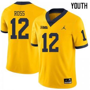 Michigan Wolverines #12 Josh Ross Youth Yellow College Football Jersey 642205-319