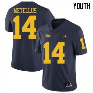 Michigan Wolverines #14 Josh Metellus Youth Navy College Football Jersey 648778-823