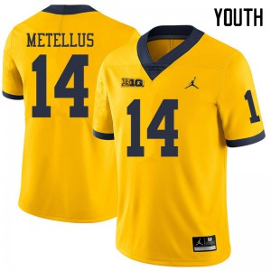 Michigan Wolverines #14 Josh Metellus Youth Yellow College Football Jersey 699896-884