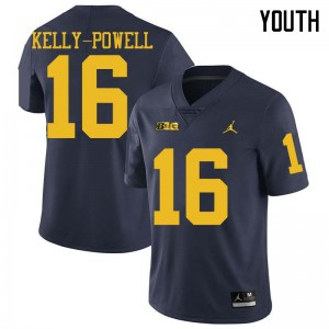 Michigan Wolverines #16 Jaylen Kelly-Powell Youth Navy College Football Jersey 572612-953