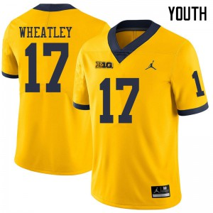 Michigan Wolverines #17 Tyrone Wheatley Youth Yellow College Football Jersey 895247-853